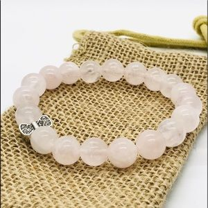 Classic Rose Quartz Genuine Gemstone Bracelet